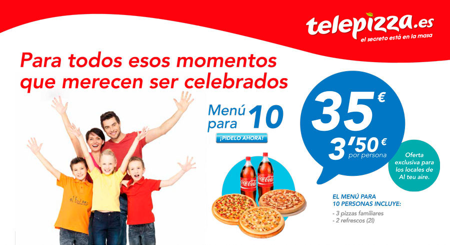 Menú telepizza oferta alteuaire virtual